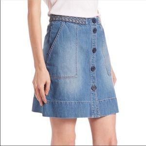 Joie Sorren Braided Button Denim Skirt size 26